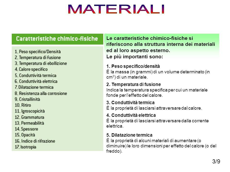 MATERIALI Le caratteristiche chimico-fisiche si riferiscono alla struttura interna dei materiali ed al loro aspetto esterno.