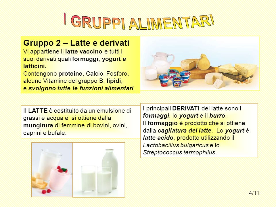 I GRUPPI ALIMENTARI Gruppo 2 – Latte e derivati