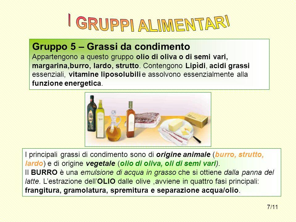 I GRUPPI ALIMENTARI Gruppo 5 – Grassi da condimento