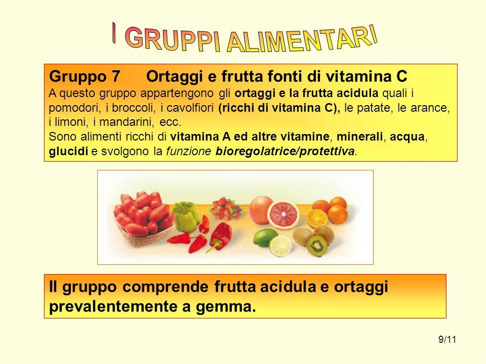 I GRUPPI ALIMENTARI Gruppo 7 Ortaggi e frutta fonti di vitamina C