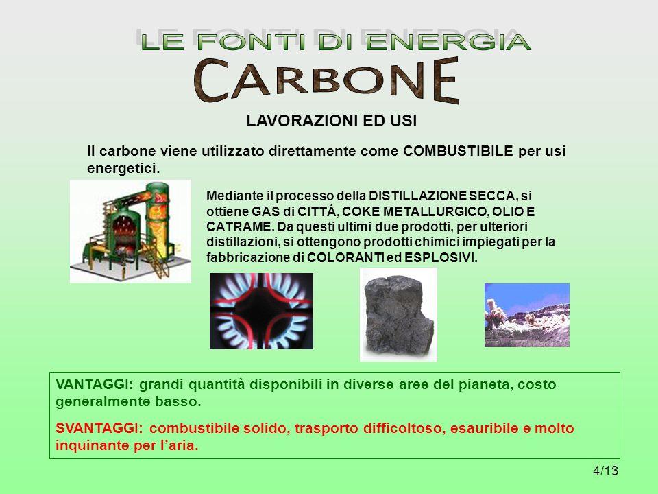LE FONTI DI ENERGIA CARBONE LAVORAZIONI ED USI