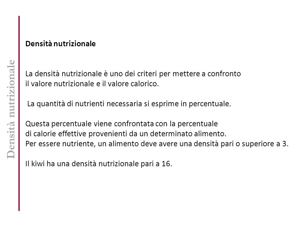 Densità nutrizionale Densità nutrizionale