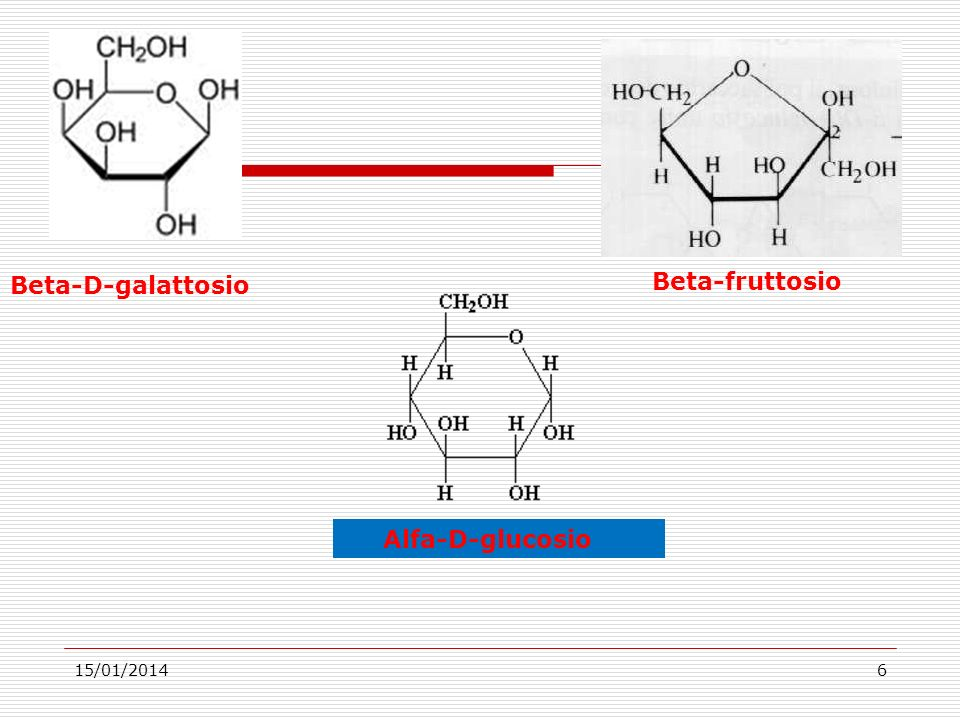 Beta-D-galattosio Beta-fruttosio Alfa-D-glucosio 27/03/2017