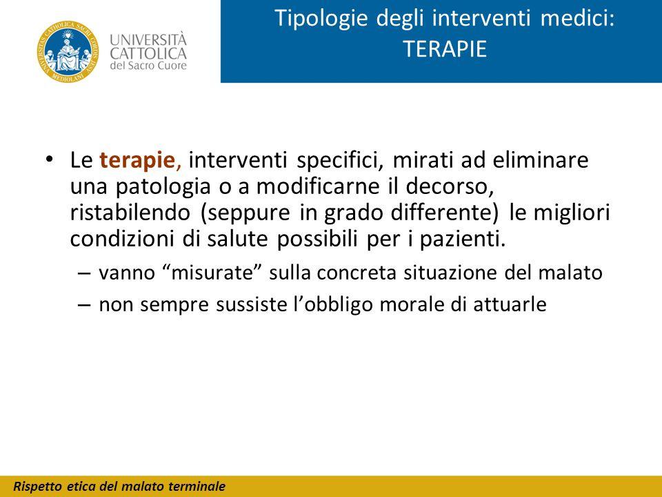 Tipologie degli interventi medici: TERAPIE
