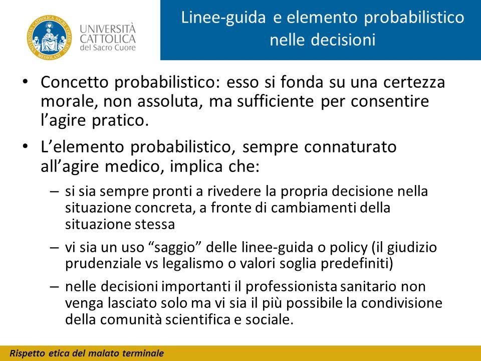 Linee-guida e elemento probabilistico nelle decisioni