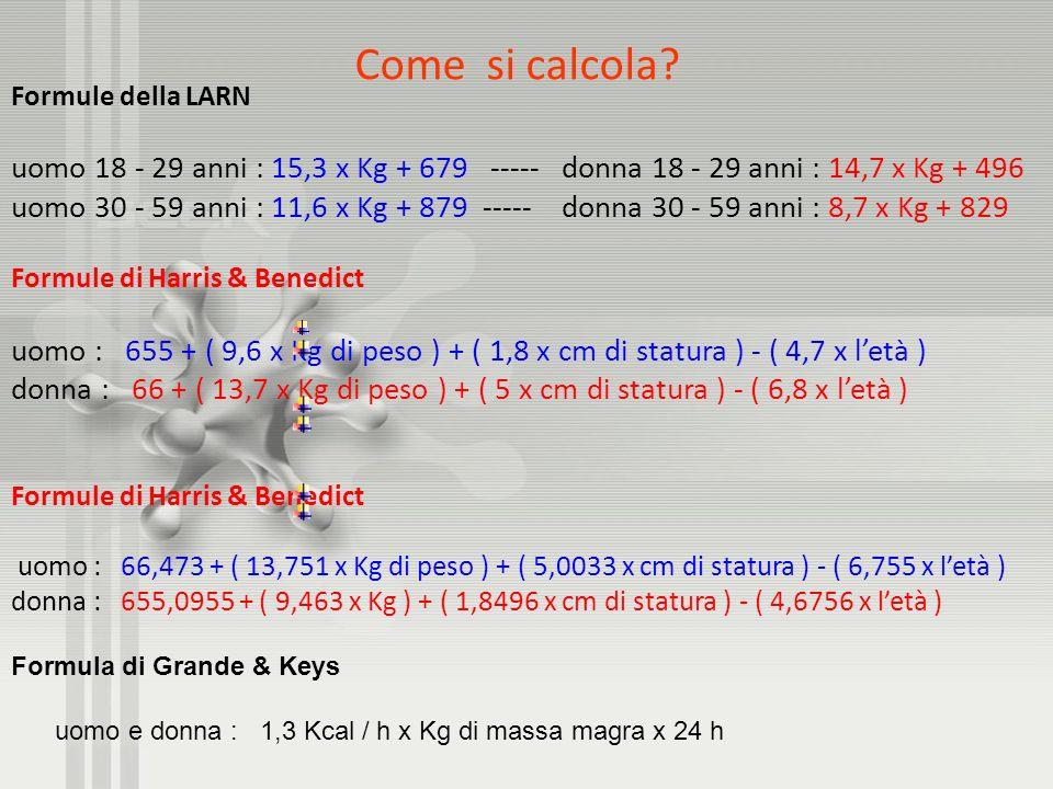 Come si calcola Formule della LARN. uomo 18 - 29 anni : 15,3 x Kg + 679 ----- donna 18 - 29 anni : 14,7 x Kg + 496.
