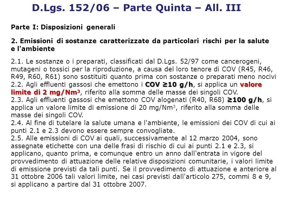 D.Lgs. 152/06 – Parte Quinta – All. III