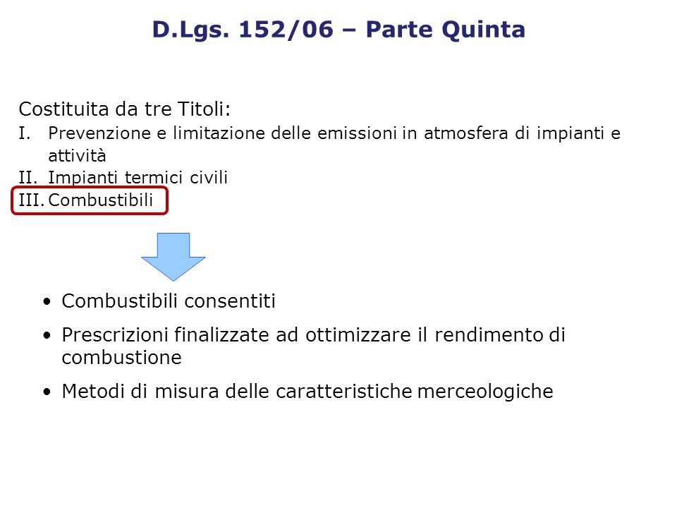 D.Lgs. 152/06 – Parte Quinta Costituita da tre Titoli: