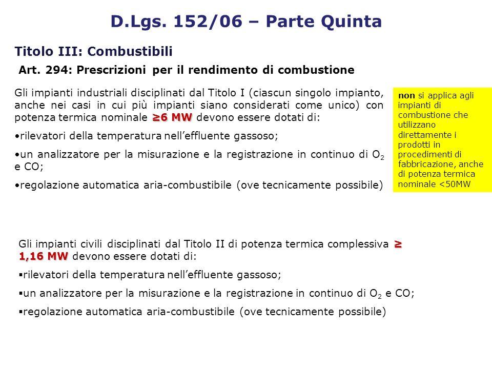 D.Lgs. 152/06 – Parte Quinta Titolo III: Combustibili