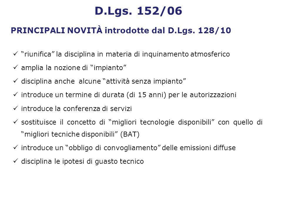PRINCIPALI NOVITÀ introdotte dal D.Lgs. 128/10