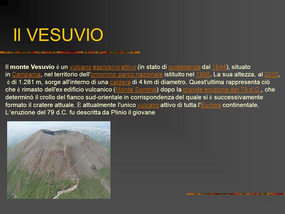 Il VESUVIO Il monte Vesuvio è un vulcano esplosivo attivo (in stato di quiescenza dal 1944), situato.