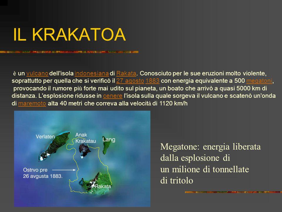 IL KRAKATOA Megatone: energia liberata dalla esplosione di