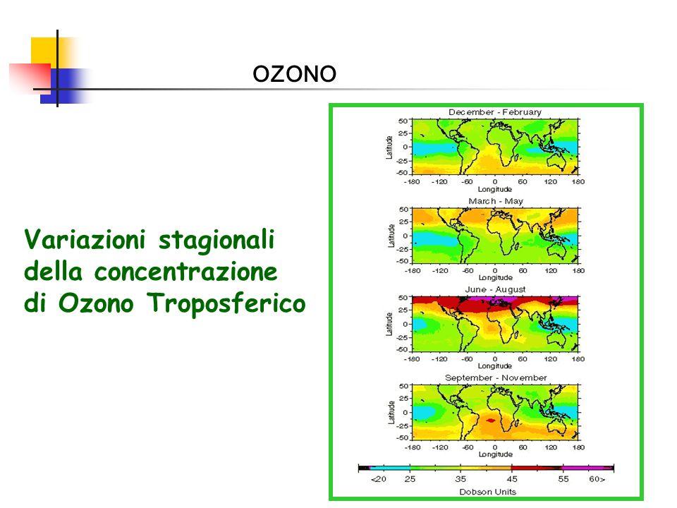 Variazioni stagionali della concentrazione di Ozono Troposferico
