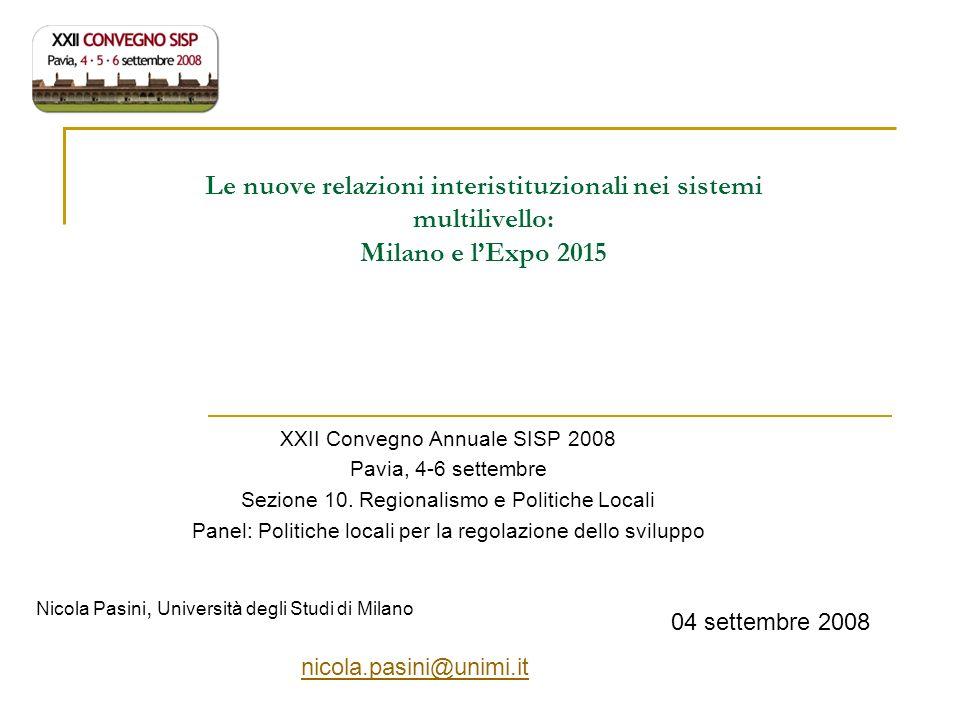 Le nuove relazioni interistituzionali nei sistemi multilivello: Milano e l'Expo 2015