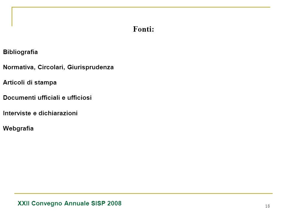 Fonti: Bibliografia Normativa, Circolari, Giurisprudenza