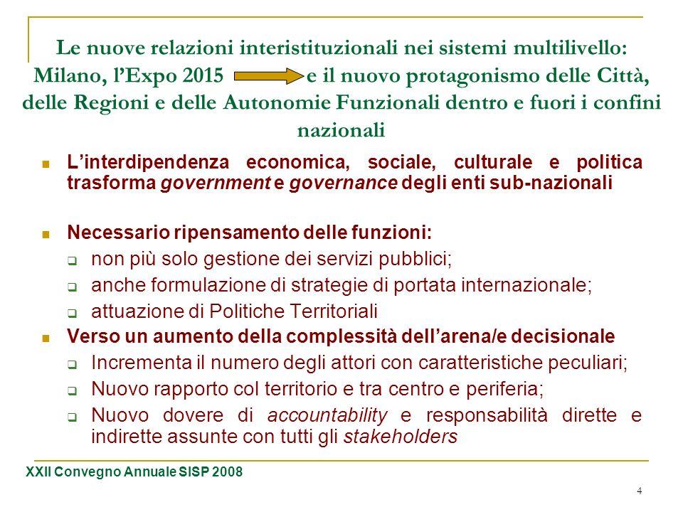 Le nuove relazioni interistituzionali nei sistemi multilivello: Milano, l'Expo 2015 e il nuovo protagonismo delle Città, delle Regioni e delle Autonomie Funzionali dentro e fuori i confini nazionali