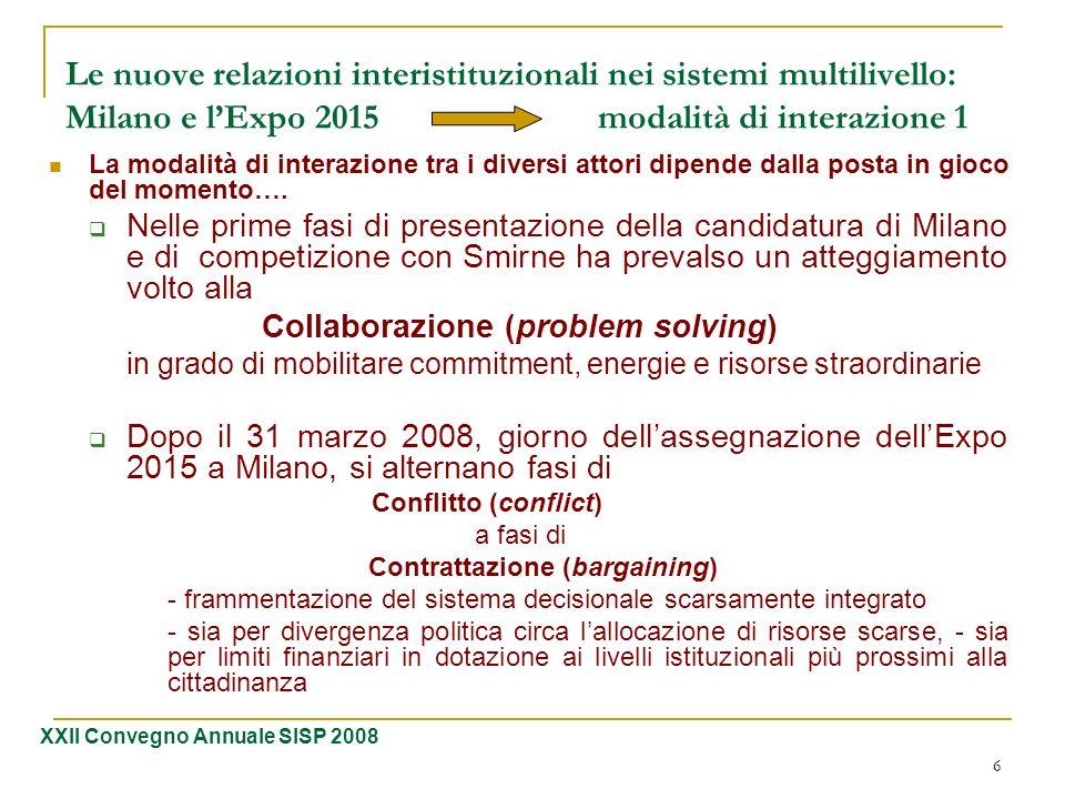 Le nuove relazioni interistituzionali nei sistemi multilivello: Milano e l'Expo 2015 modalità di interazione 1