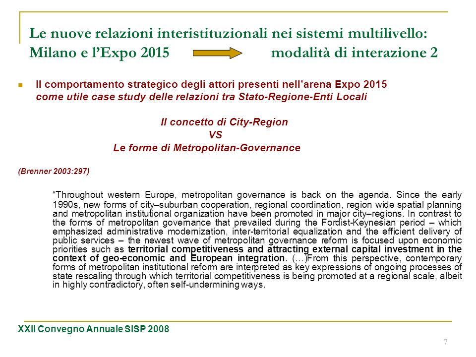 Le nuove relazioni interistituzionali nei sistemi multilivello: Milano e l'Expo 2015 modalità di interazione 2