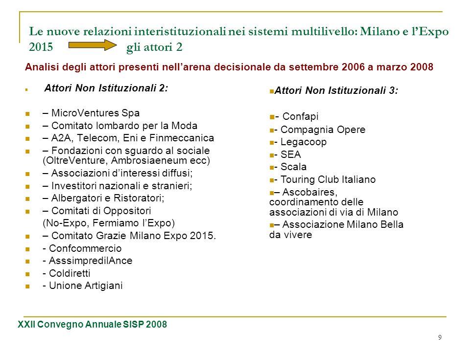 Le nuove relazioni interistituzionali nei sistemi multilivello: Milano e l'Expo 2015 gli attori 2