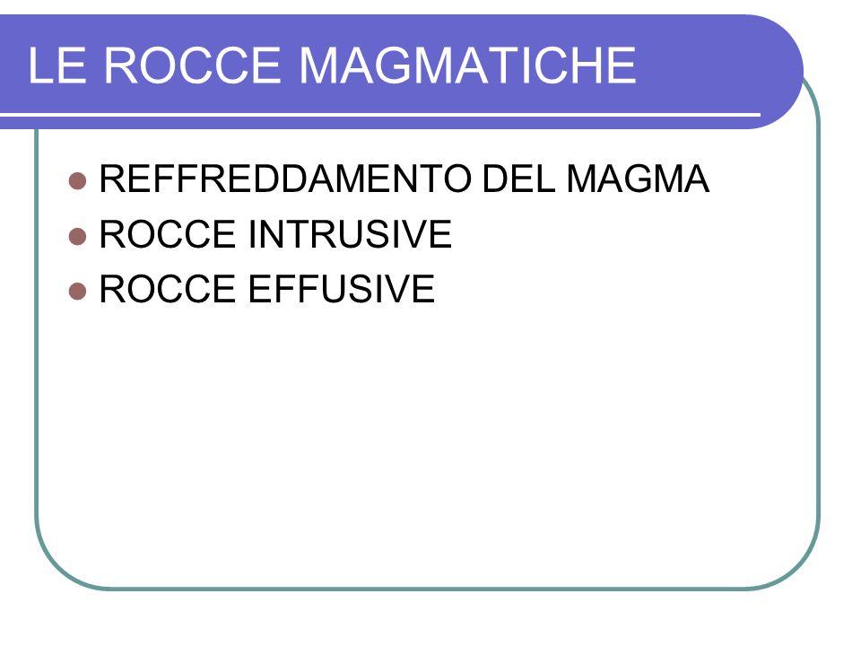 LE ROCCE MAGMATICHE REFFREDDAMENTO DEL MAGMA ROCCE INTRUSIVE