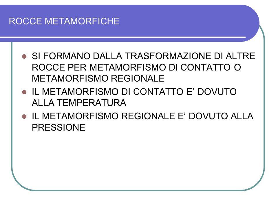 ROCCE METAMORFICHE SI FORMANO DALLA TRASFORMAZIONE DI ALTRE ROCCE PER METAMORFISMO DI CONTATTO O METAMORFISMO REGIONALE.