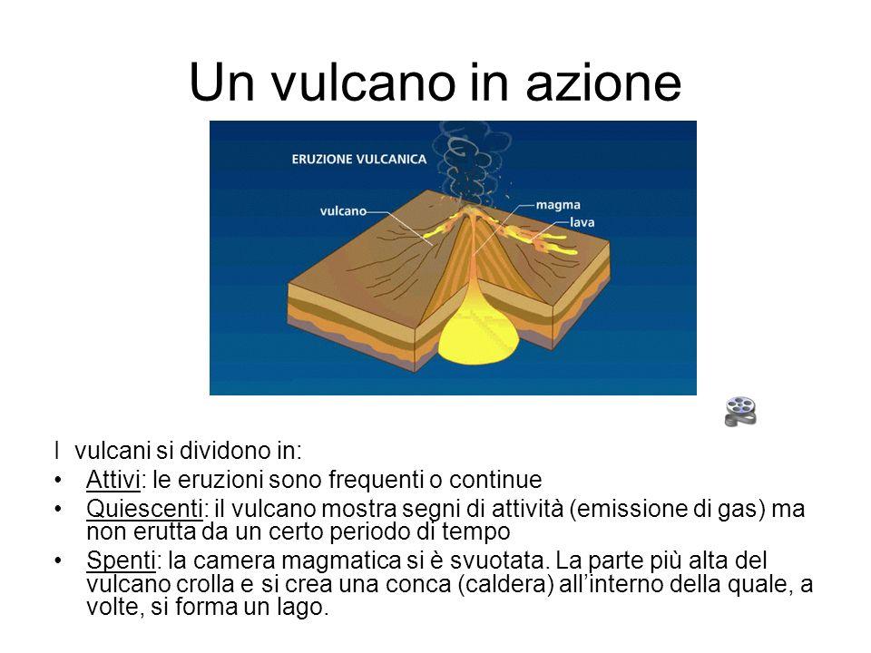 Un vulcano in azione I vulcani si dividono in: