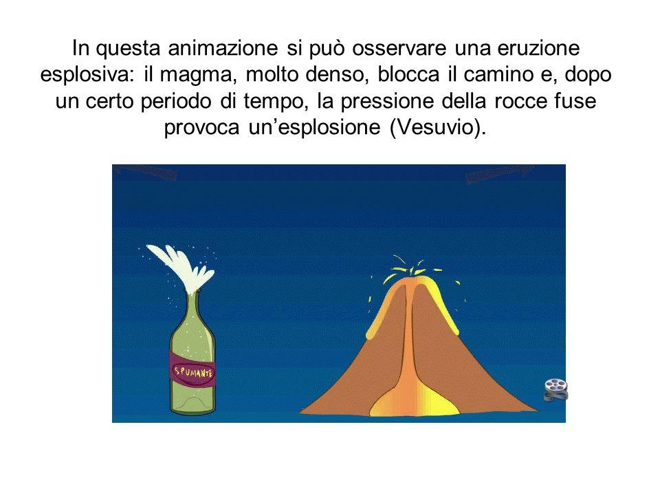 In questa animazione si può osservare una eruzione esplosiva: il magma, molto denso, blocca il camino e, dopo un certo periodo di tempo, la pressione della rocce fuse provoca un'esplosione (Vesuvio).