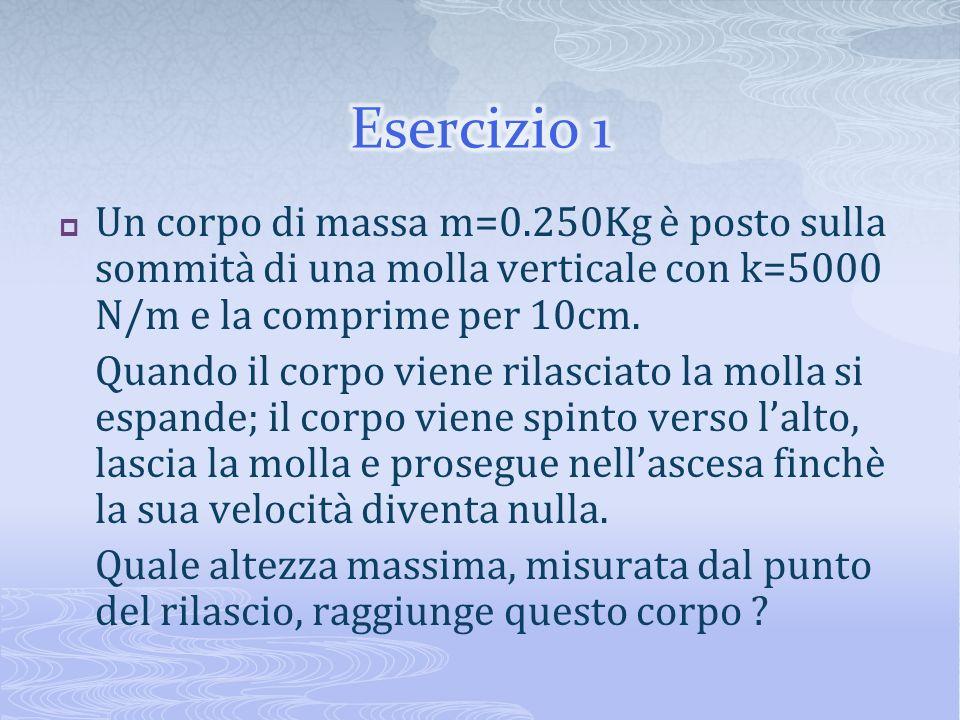 Esercizio 1 Un corpo di massa m=0.250Kg è posto sulla sommità di una molla verticale con k=5000 N/m e la comprime per 10cm.