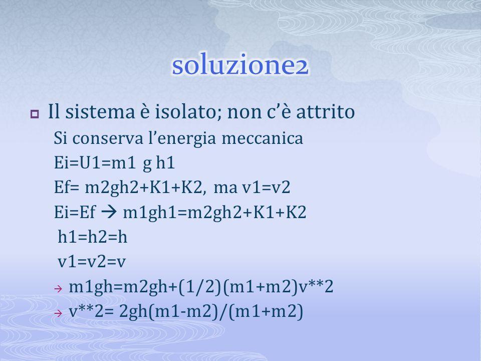 soluzione2 Il sistema è isolato; non c'è attrito