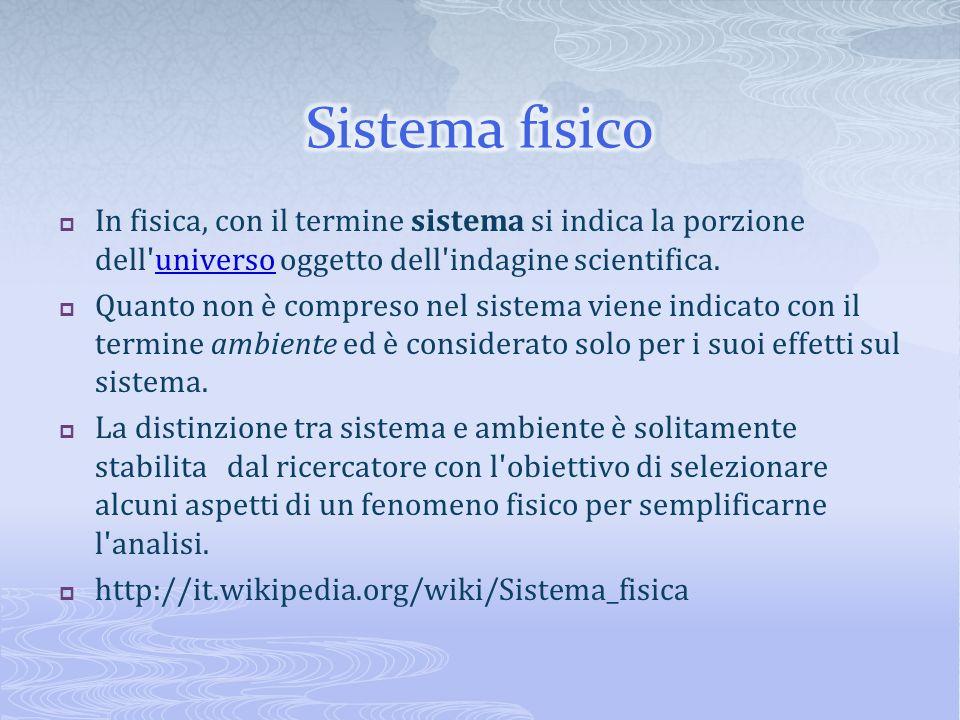 Sistema fisico In fisica, con il termine sistema si indica la porzione dell universo oggetto dell indagine scientifica.