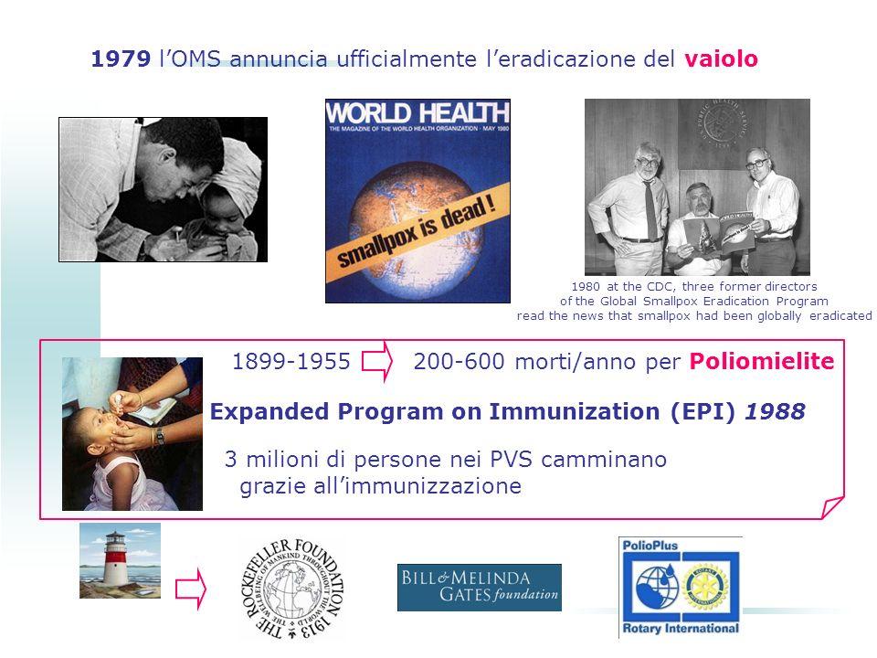 1979 l'OMS annuncia ufficialmente l'eradicazione del vaiolo