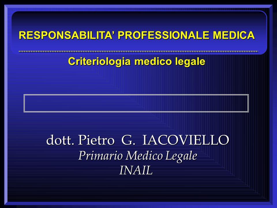 RESPONSABILITA' PROFESSIONALE MEDICA Criteriologia medico legale