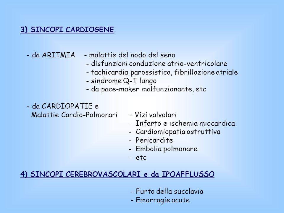 3) SINCOPI CARDIOGENE - da ARITMIA - malattie del nodo del seno. - disfunzioni conduzione atrio-ventricolare.