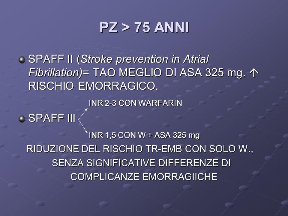 PZ > 75 ANNI SPAFF II (Stroke prevention in Atrial Fibrillation)= TAO MEGLIO DI ASA 325 mg.  RISCHIO EMORRAGICO.