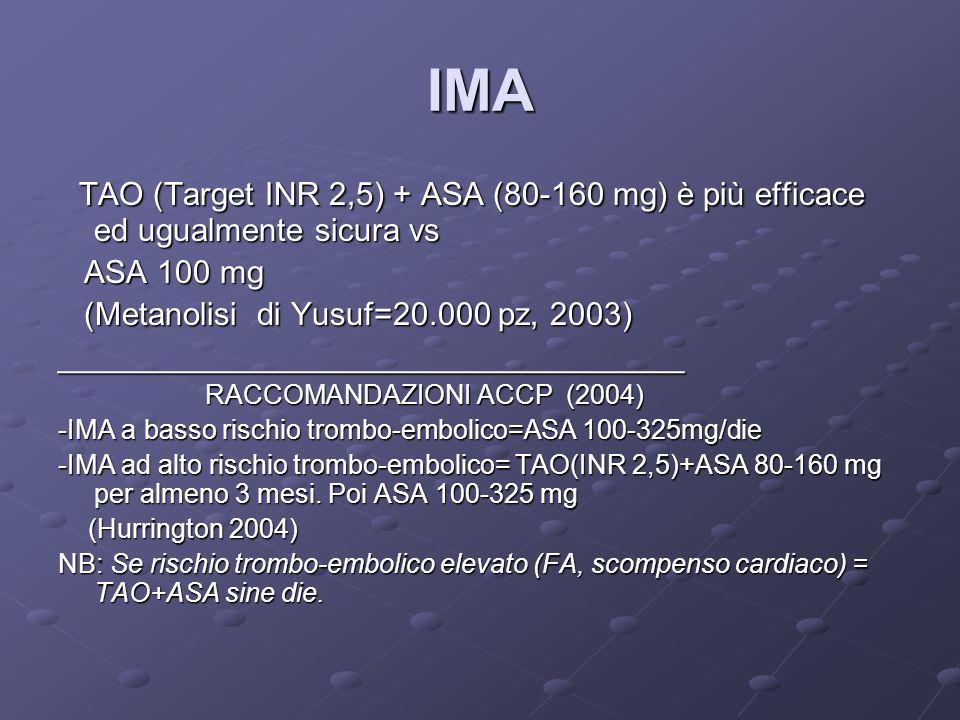 IMA TAO (Target INR 2,5) + ASA (80-160 mg) è più efficace ed ugualmente sicura vs. ASA 100 mg. (Metanolisi di Yusuf=20.000 pz, 2003)