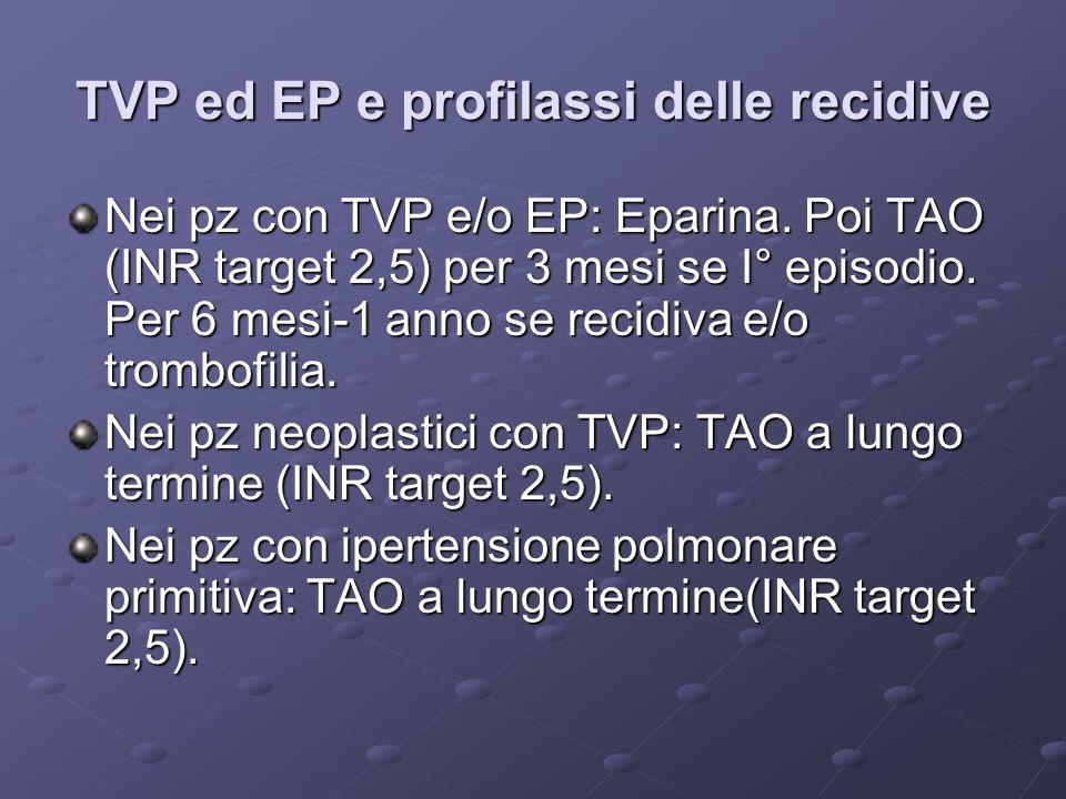 TVP ed EP e profilassi delle recidive