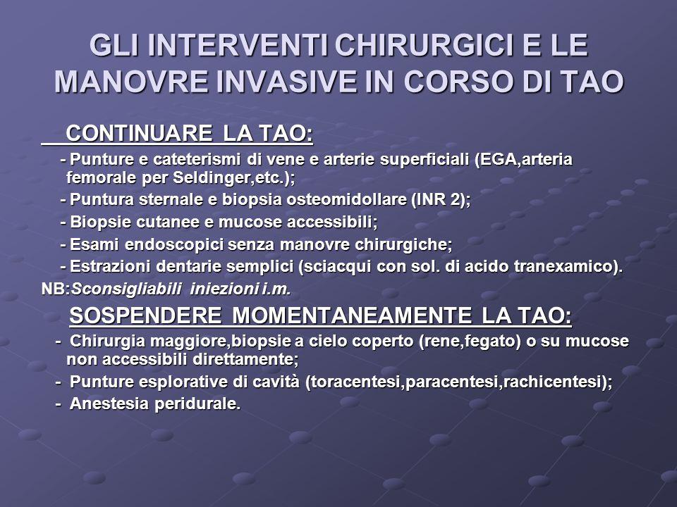 GLI INTERVENTI CHIRURGICI E LE MANOVRE INVASIVE IN CORSO DI TAO