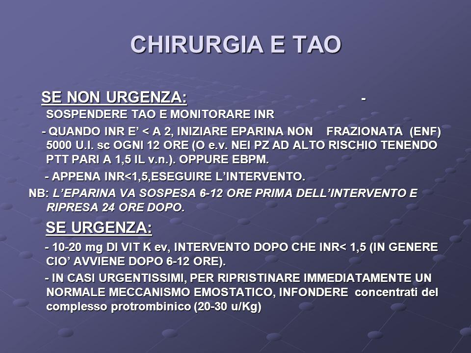 CHIRURGIA E TAO SE NON URGENZA: - SOSPENDERE TAO E MONITORARE INR