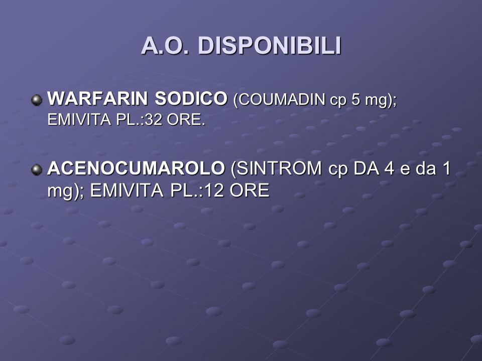 A.O. DISPONIBILI WARFARIN SODICO (COUMADIN cp 5 mg); EMIVITA PL.:32 ORE.