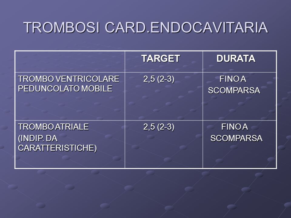 TROMBOSI CARD.ENDOCAVITARIA