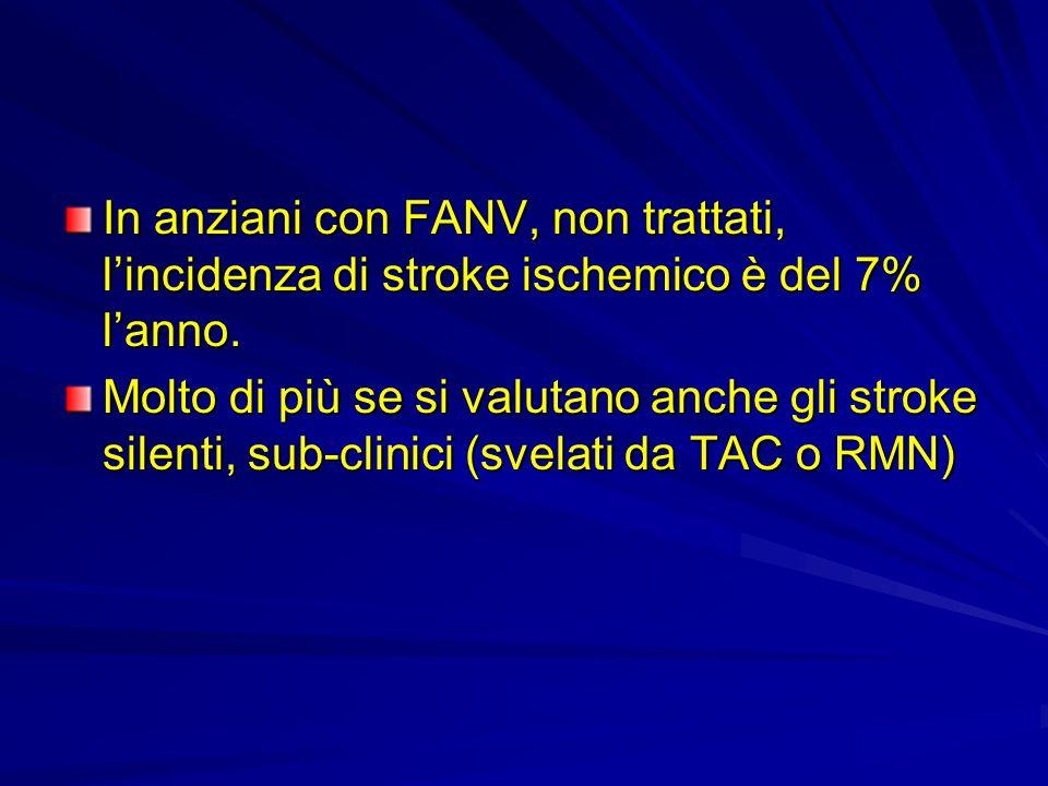 In anziani con FANV, non trattati, l'incidenza di stroke ischemico è del 7% l'anno.