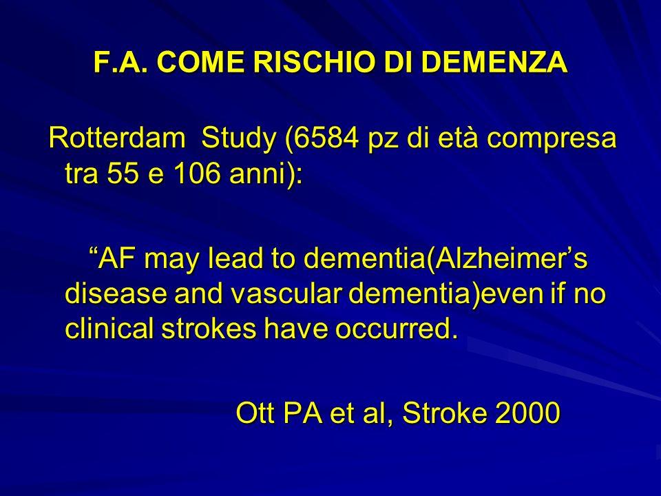 F.A. COME RISCHIO DI DEMENZA