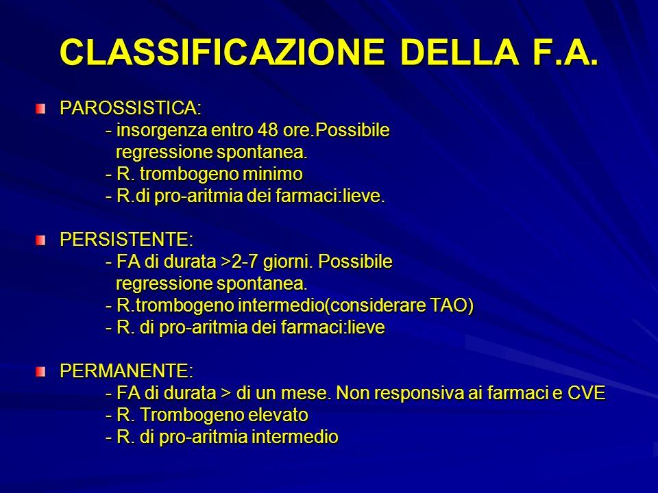 CLASSIFICAZIONE DELLA F.A.