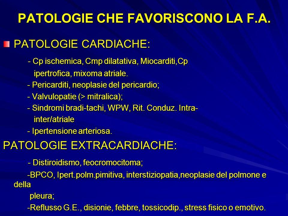 PATOLOGIE CHE FAVORISCONO LA F.A.