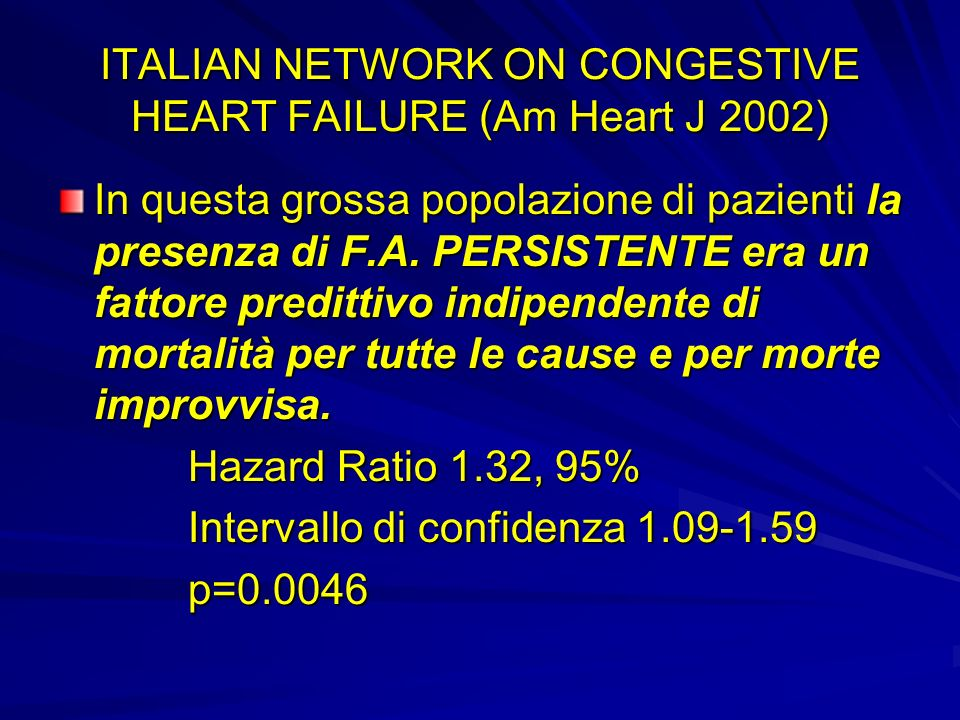 ITALIAN NETWORK ON CONGESTIVE HEART FAILURE (Am Heart J 2002)