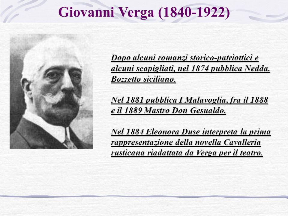Giovanni Verga (1840-1922) Dopo alcuni romanzi storico-patriottici e alcuni scapigliati, nel 1874 pubblica Nedda. Bozzetto siciliano.
