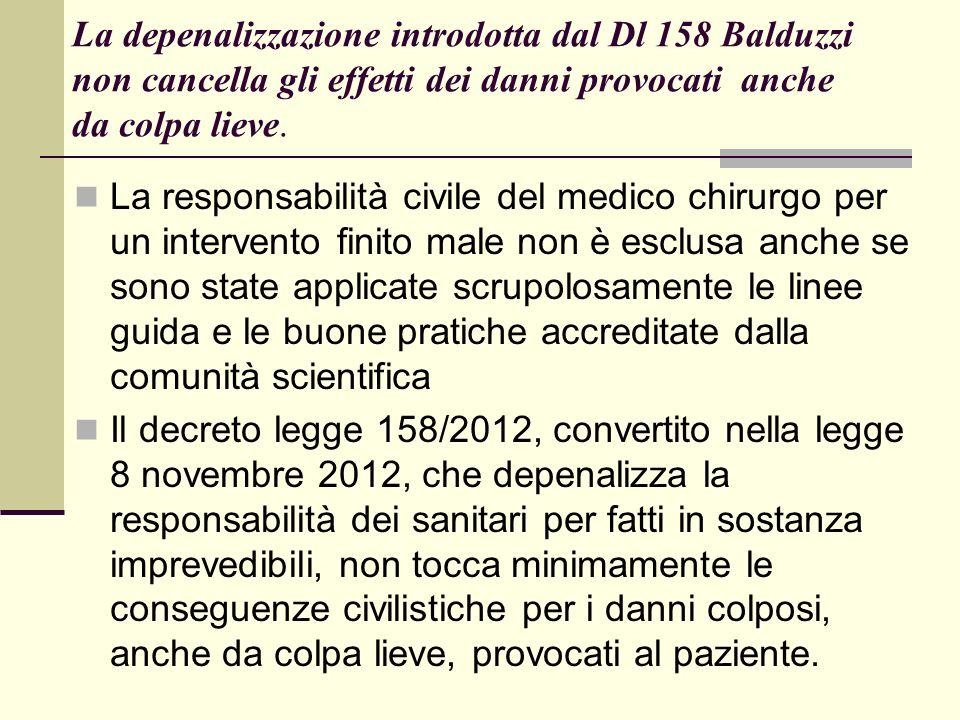La depenalizzazione introdotta dal Dl 158 Balduzzi non cancella gli effetti dei danni provocati anche da colpa lieve.