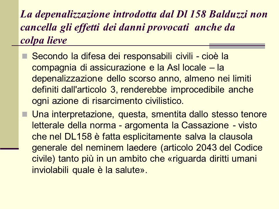 La depenalizzazione introdotta dal Dl 158 Balduzzi non cancella gli effetti dei danni provocati anche da colpa lieve