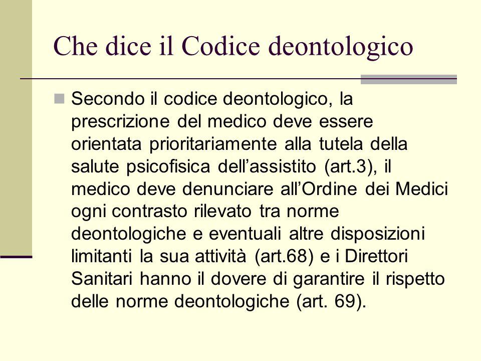 Che dice il Codice deontologico