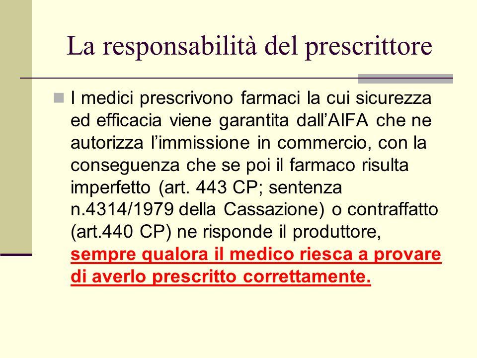 La responsabilità del prescrittore